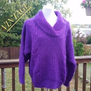 Purple Mohair Cable Knit Shawl Collar Sweater